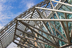 Futuristic business center metal roof construction Royalty Free Stock Photo