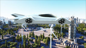Futuristic car flying over the city, town. Transport of the future. Aerial view. 3d rendering. Futuristic car flying over the city, town. Transport of the Stock Photography