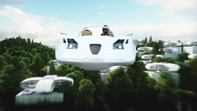 Futuristic car flying over the city, village. House of the future. Aerial view. Realistic 4k animation. stock footage