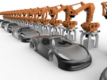 Futuristic car production line. 3D render illustration of a futuristic car production line. The composition is isolated on a white background with shadows Stock Image