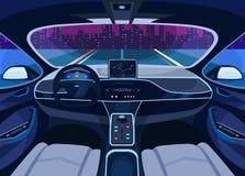 Futuristic car salon with GPS, autopilot vehicle stock illustration