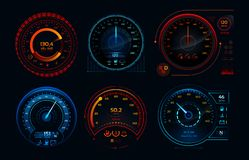 Futuristic car speedometer. Speed hud kilometer performance indicators dashboard, gas and fuel level analog panels royalty free illustration