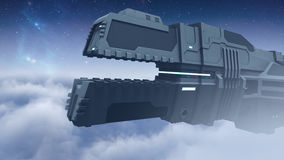 Futuristic cargo spaceship flying 3D rendering. 3D illustration of a futuristic cargo spaceship flying through the nebula Stock Photos