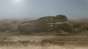 Futuristic cargo spaceship landing with dust and smoke - 24 fps
