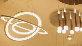 Futuristic chandelier future saturn geometric lamp interior design