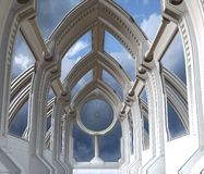 Futuristic chapel. Background or part of a spaceship vector illustration