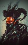 Futuristic character,robotic demon. Illustration painting Stock Photo