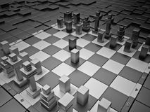 Futuristic chess board. Futuristic chess board with High Tech figures Stock Photos