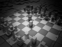 Futuristic chess. Futuristic chess board and High Tech figures with depth of field Royalty Free Stock Photos