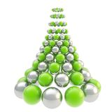 Futuristic christmas tree made of spheres. Futuristic christmas tree made of glossy spheres composition isolated on white background Royalty Free Stock Image
