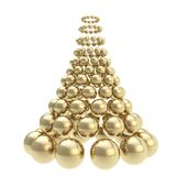 Futuristic christmas tree made of spheres isolated on white. Futuristic christmas tree made of glossy spheres composition isolated on white background Royalty Free Stock Photography