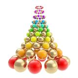 Futuristic christmas tree made of spheres isolated on white. Futuristic christmas tree made of glossy spheres composition isolated on white background Stock Photography