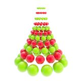 Futuristic christmas tree made of spheres isolated on white. Futuristic christmas tree made of glossy spheres composition isolated on white background Royalty Free Stock Images
