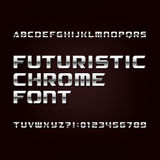 Futuristic chrome alphabet font. Metallic effect letters and numbers on a dark background. Stock vector typeface for your design stock illustration