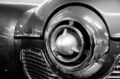 Futuristic chrome details of classic American car.  Royalty Free Stock Image