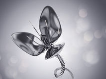 Futuristic chrome flower Stock Photo