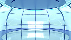 Futuristic hall with glass walls Stock Photos
