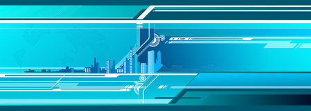 Futuristic city. On the blue background stock illustration