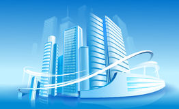 Futuristic city. On the blue background Royalty Free Stock Photos