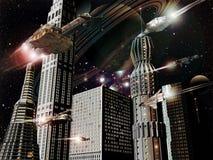 Futuristic city. Virtual presentation of a futuristic city in space Royalty Free Stock Photo