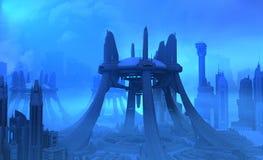 Futuristic city. 3d render of futuristic city Stock Image