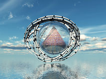 Futuristic city. The pyramid City and futuristic Royalty Free Stock Images