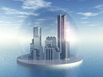 Futuristic City. Computer generated 3D illustration with Futuristic City in the Ocean Stock Photo