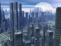 Futuristic city - 3D render Stock Images