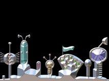 Futuristic city. Shiny metallic city royalty free illustration