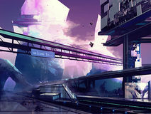 Futuristic city. Abstract drawn futuristic scifi fantasy city and station with hills art illustration Stock Photos