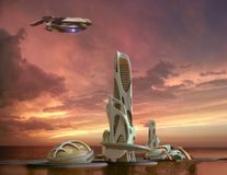 Futuristic city architecture for fantasy and science fiction ill. 3D futuristic marina-city in sunset with an organic high-rise architecture, for fantasy and stock illustration