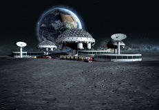 Futuristic city, base, town on moon. The space view of the planet earth. expedition. 3d rendering Stock Images