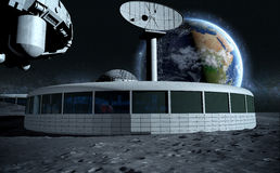 Futuristic city, base, town on moon. The space view of the planet earth. expedition. 3d rendering Royalty Free Stock Images