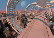 Futuristic city bridge. Render of an abstract futuristic bridge over a modern city Royalty Free Stock Images