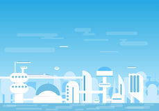 Futuristic city. Futuristic buildings and houses near water Stock Photography