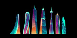 Futuristic city buildings with neon glowing set. stock photography