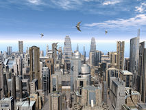 Futuristic City. Computer generated 3D illustration with a Futuristic City Royalty Free Stock Photos