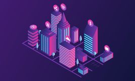 Futuristic city concept banner, isometric style royalty free illustration