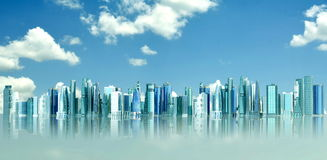 Futuristic City. Concept in blue sky background royalty free stock photos