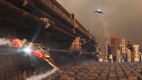 Futuristic city. Concept and spaceships royalty free stock images