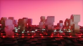 Futuristic city cubes. Futuristic city from cubes with led energy glowing stock photos