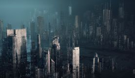 Futuristic city. 3d render illustration stock photography
