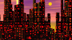 Futuristic city - 3D render. Travelling in a futuristic city by sunset stock video