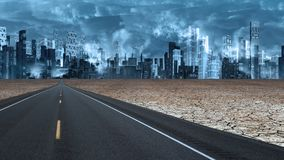 Futuristic city. Desert Road leads to futuristic city royalty free stock photos