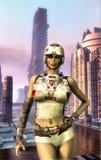 Futuristic city girl royalty free illustration