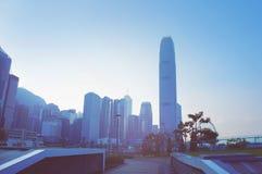 Futuristic city Hong Kong. View from Tamar park royalty free stock photo