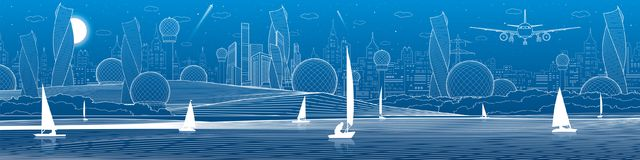 Futuristic City infrastructure panoramic illustration. Airplane fly. Night town at background. Sailing yachts on water. White line. S. Vector design art vector illustration