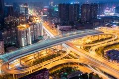 Futuristic city interchange at night. Wuhan, China Royalty Free Stock Photography