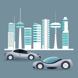 Futuristic city landscape silhouette with colorful set of modern vehicles. Vector illustration Stock Image