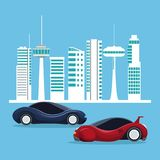 Futuristic city landscape silhouette with colorful set of sport vehicles. Vector illustration Stock Photography